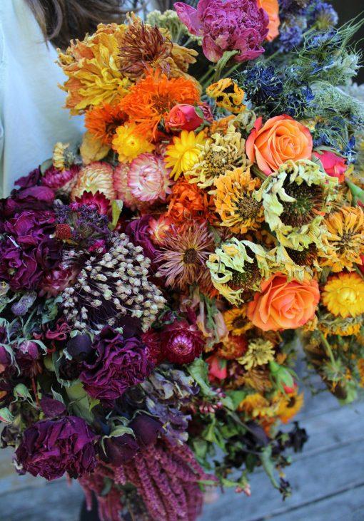 Dried Flower Bouquet, Rainbow Bridal Cascading Strawflower Elope