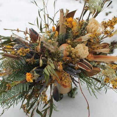 Dried Flower Bouquet, Yellow Bridal Mustard Gold Witch Hazel Rustic Bouquet