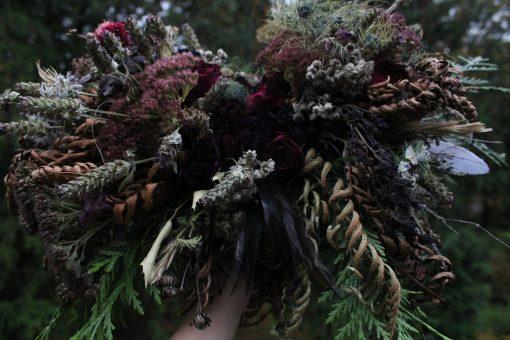 Dried Flower Bouquet, Burgundy & Navy Bridal Thistle Dark Red Dusty Blue Feather Rose