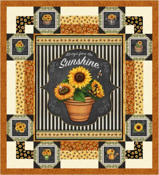 """Quilting Treasures - Gather Around 50"""" X 55"""" Sunflower Wall/Throw Quilt Kit   Includes Pattern/Fabric For Quilt Top & Binding Aafqk-421"""