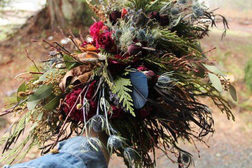 Dried Flower Bouquet, Burgundy & Navy Bridal Thistle Dark Red Woodland Seattle Wedding, Foraged