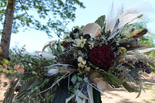 Dried Flower Bouquet, Bridal Greenery Dark Green Woodland Peony Elopement Indie