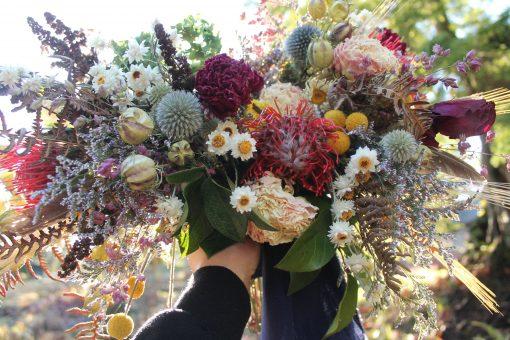 Dried Flower Bouquet, Rainbow Bridal Flowers, Elope, Cabin Wedding, Wedding