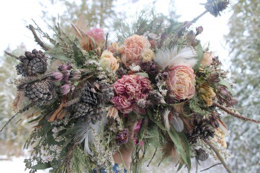 Dried Flower Bouquet, Mauve & Blush Bridal Pink Pinecone Peony, Rose