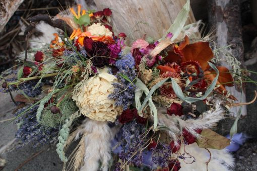Dried Flower Bouquet, Lavender Elopement Wildflower Flowers, Rust Rose