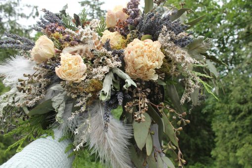 Dried Flower Bouquet, Blush Bridal Lavender Gray Silver Woodland