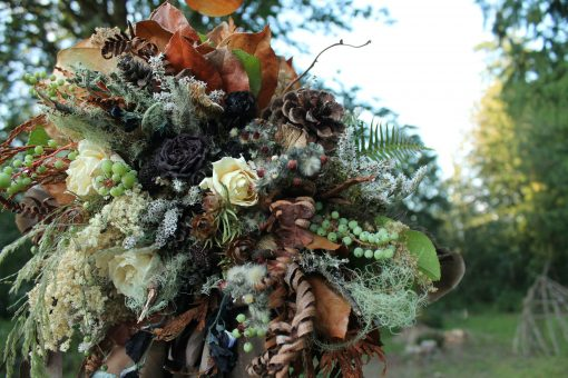 Dried Flower Bouquet, Bridal Rust Woodland Feather Rustic Neutral