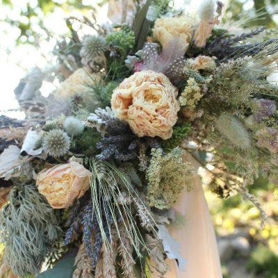 Dried Flower Bouquet, Blush Bridal Lavender & Lavender, Thistle Feather Rustic Bouquet