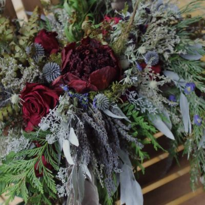 Dried Flower Bouquet, Marsala & Navy Berry Tones, Thistle Foraged Red Bouquet