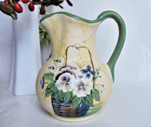 Pansies Flowers Easter Pitcher, Vintage Large Decorative Floral Basket With Blue Motif Antique White Ceramic Pitcher