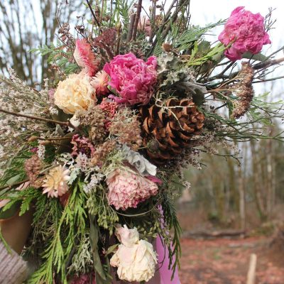 Dried Flower Bouquet, Dusty Rose Pink Pinecone Woodland Elopement Colorado Elopement, Flowers, Eco