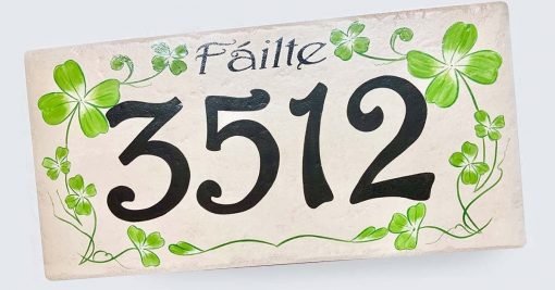 Irish Shamrock Green House Number, Clover Address Sign, St Patrick's Day Gift, Green Fáilte Personalized & Name