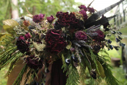 Dried Flower Bouquet, Purple Bridal Dark Burgundy Berry Tones, Woodland Elopement Cedar