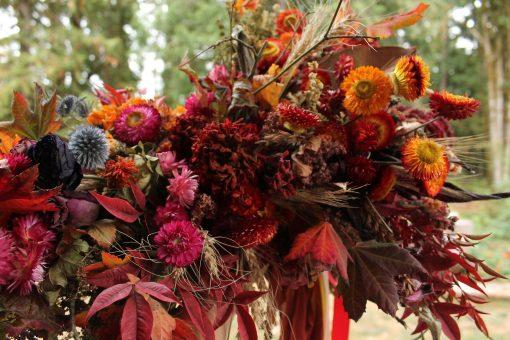 Dried Flower Bouquet, Autumn Bridal Wheat Strawflowers Orange Halloween Rustic Bouquet