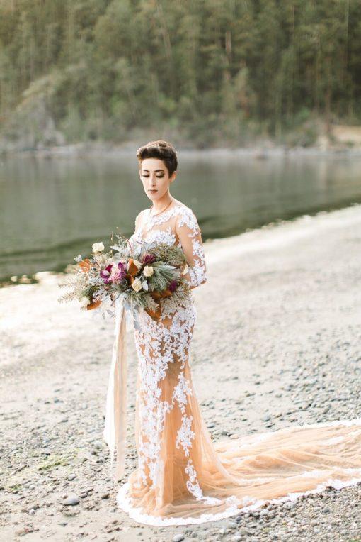 Dried Flower Bouquet, Custom Bridal Gold Rosegold Magnolia Wedding, Foraged Bouquet