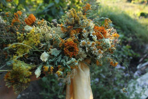Dried Flower Bouquet, Dried Sunflower Bouquet, Mustard Bridal Yellow Custom Gold Bouquet