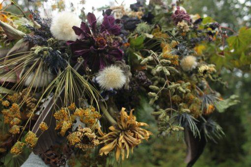 Dried Flower Bouquet, Purple Bridal & Gold Autumn Mustard Lavender, Woodland Eco