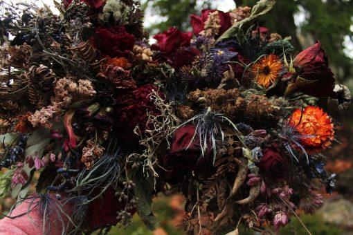 Dried Flower Bouquet, Dark Purple Wine Burgundy Jewel Tones, Elope, Seedpod Rust, Thistle Bouquet