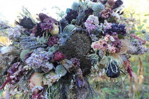 Dried Flower Bouquet, Purple Bridal Halloween Wisteria Lilac Lavender