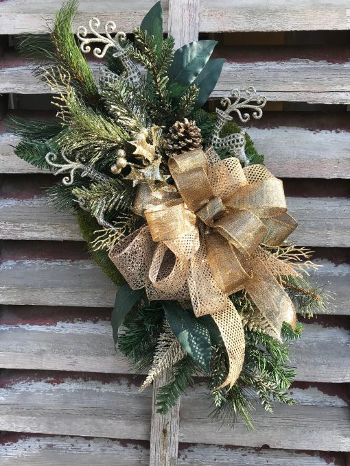 All Winter Long After Christmas Farmhouse Gold Elegance With Pine On Grapevine Wreath For Door , Wreaths Front Door, Farmhouse