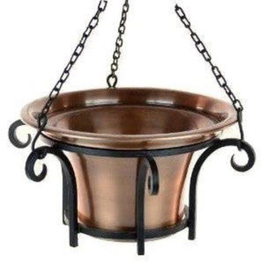 H Potter Hanging Basket Large Planter, Antique Copper Finish, Patio, Deck, Garden Gift, Metal Pot, Suspended Planter Mothers Day Gift