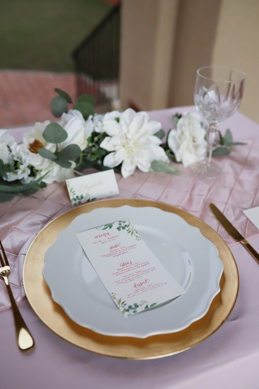 Sweetheart Table Decor - White Dahlia & Garden Rose Wedding Garland -Eucalyptus Reception Centerpiece Sign Accent- Bridal Shower