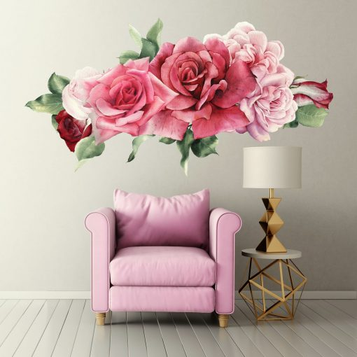 Pink Roses Wall Decals Made From Peel & Stick Removable Wallpaper - Fabric Flower Wb928