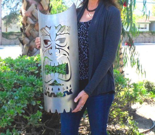Plasma Cut Steel Tiki Head Hawaiian Culture Mask Totem Statue Custom Carved Garden Island Pool Tropical Decor Home Hawaii Kauai Maui
