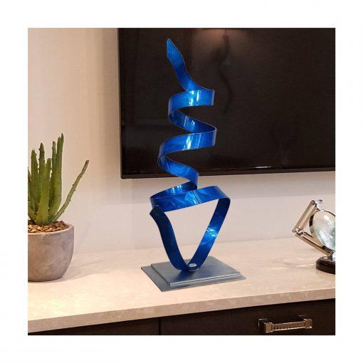 Metal Sculpture, Indoor Outdoor Art, Abstract Coffee Table Sculpture Modern Art Garden Decor - Blue Whisper Accent By Jon Allen