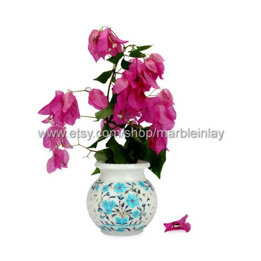 Orchid Pot Marble Inlay Flower Fairy Garden Decor