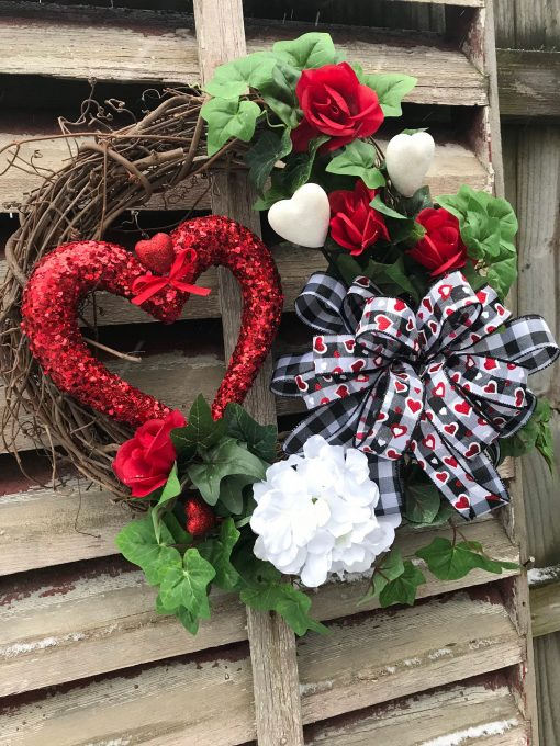 Hearts & Roses Valentine Wreath, Wreaths For Front Door, Everyday, Grapevine, Spring, Summer, Farmhouse, Primitive, Year Long