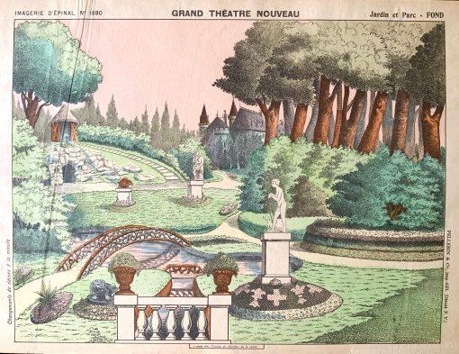 Rare Antique Print 1896 Pellerin Toy Paper Theatre Imagerie D'epinal Papiertheater Scenery 1890S Puppet Garden Park Jardin Et Parc