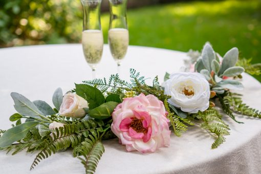 Sweetheart Table Flowers - Wedding Centerpiece Flower Garland Pink White Reception Decor- Arch