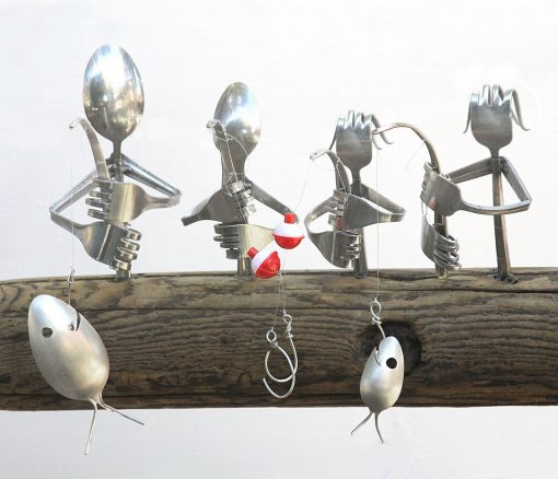 Custom Family Fishing/Spoon Fish Wind Chime, Mother Father Son Daughter, Father's Day Gift, Time On The Water, Lake House Decor