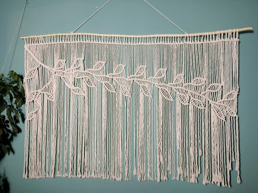 Macrame Wall Hanging Tree Branches With Leaves, Pattern Hanging, Macremè Wall Art