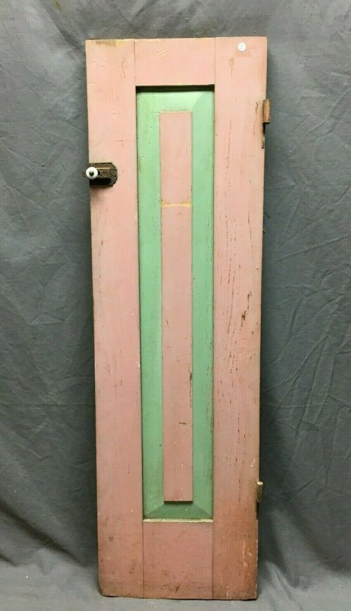 Antique 12x41 Early Cabinet Cupboard Door Shabby Cottage Chic Vtg Pink 636-20B