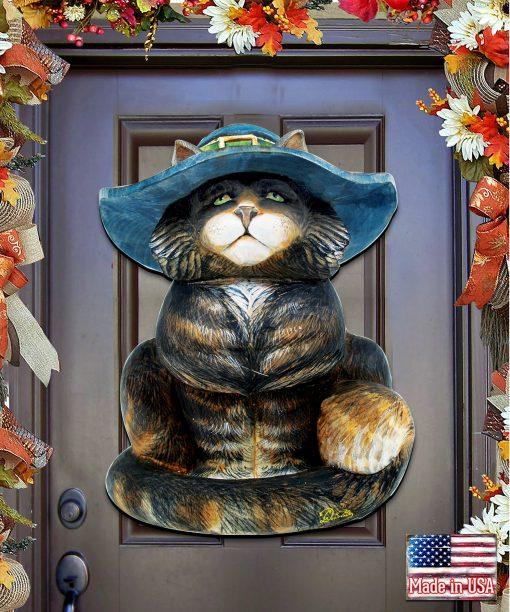Sale Halloween Decor Fall Outdoor Black Cat Wooden Door Hanger - Wall Decor 8158411H