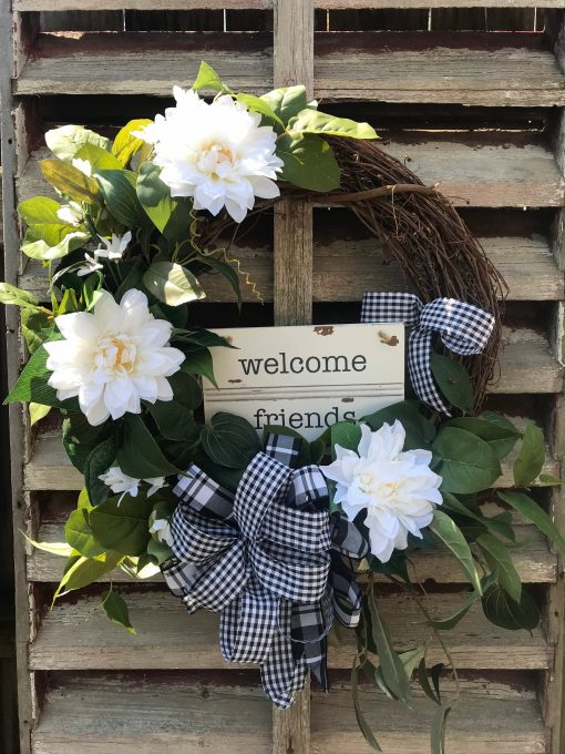 """Beautifully Elegant White Magnolia """"Welcome Friends Grapevine Wreath For Door, Wreaths, Wreaths Front Door, Farmhouse, Mother's Day Gift"""