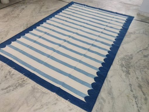 Cotton Rug Home Décor Living Room Flat Weave 6.5'x10' Handwoven Natural Vegetable Dyed Blue White Scalloped Striped Area Dhurrie