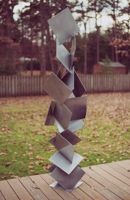 Sotto 3 Outdoor Modern Sculpture Steel Abstract Metallic Silver Powder Coat