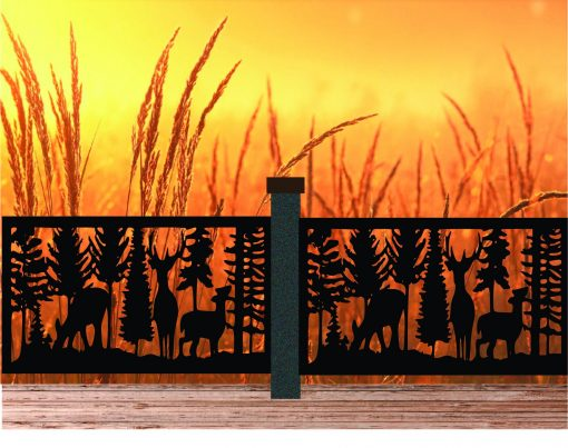 Decorative Rustic Railings, Wildlife Scenery With Two Doe's & A Buck, Metal Panel Insert, Staircase Balcony