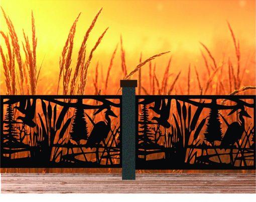 Decorative Rustic Railings, Wildlife Scenery With Heron & Two Flying Ducks, Metal Panel Insert, Staircase Balcony