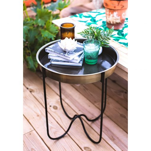 H Potter Side End Table Indoor Outdoor For Patio Deck Balcony Living Room - Antique Brass Finish Quick Folding Removable Round Metal Tray