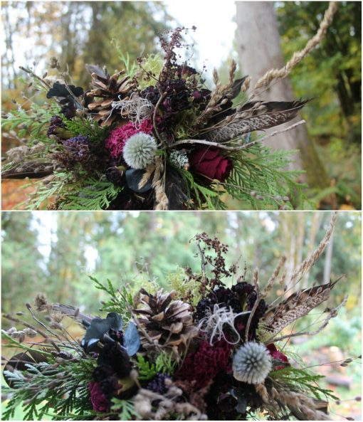 Dried Flower Bouquet, Thistle Rustic Navy Blue Burgundy Pinecone Pheasant Woodland