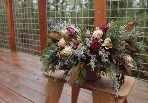 Dried Flower Bouquet, Dark Red & Gold Magnolia Burgundy Rustic Bridal Wedding Feather Bouquet