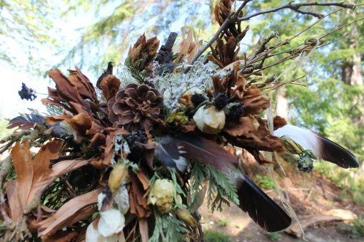 Dried Flower Bouquet, Bridal Neutral Amber Gold Woodland Magnolia