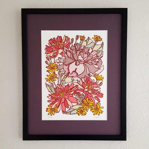 Purple Rose & Lotus Flower Linocut Art Print, Lino Cut Print. Bedroom Wall Décor Floral Artwork. Framed Botanical Illustration