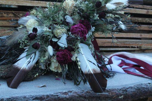 Dried Flower Bouquet, Burgundy Bridal Marsala & Blush Feather Blush, Elopement Woodland Bouquet