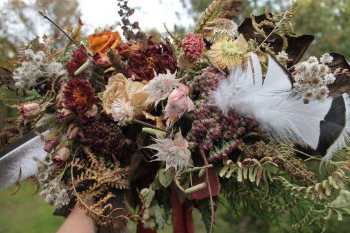 Dried Flower Bouquet, Bridal Orange Rust Thanksgiving Autumn Blush And