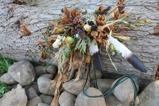 Dried Flower Bouquet, Bridal Neutral Pinecone Woodland Feather Seattle Wedding
